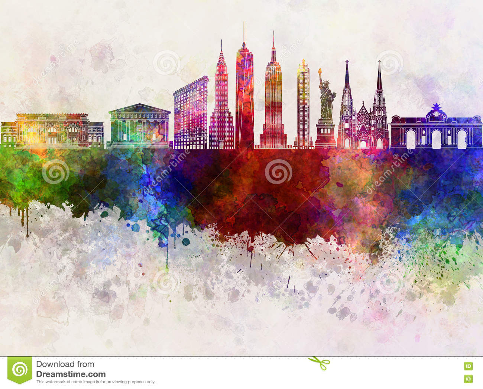 Download Горизонт Нью-Йорка в wb иллюстрация штока. иллюстрации насчитывающей splatter - 72299325