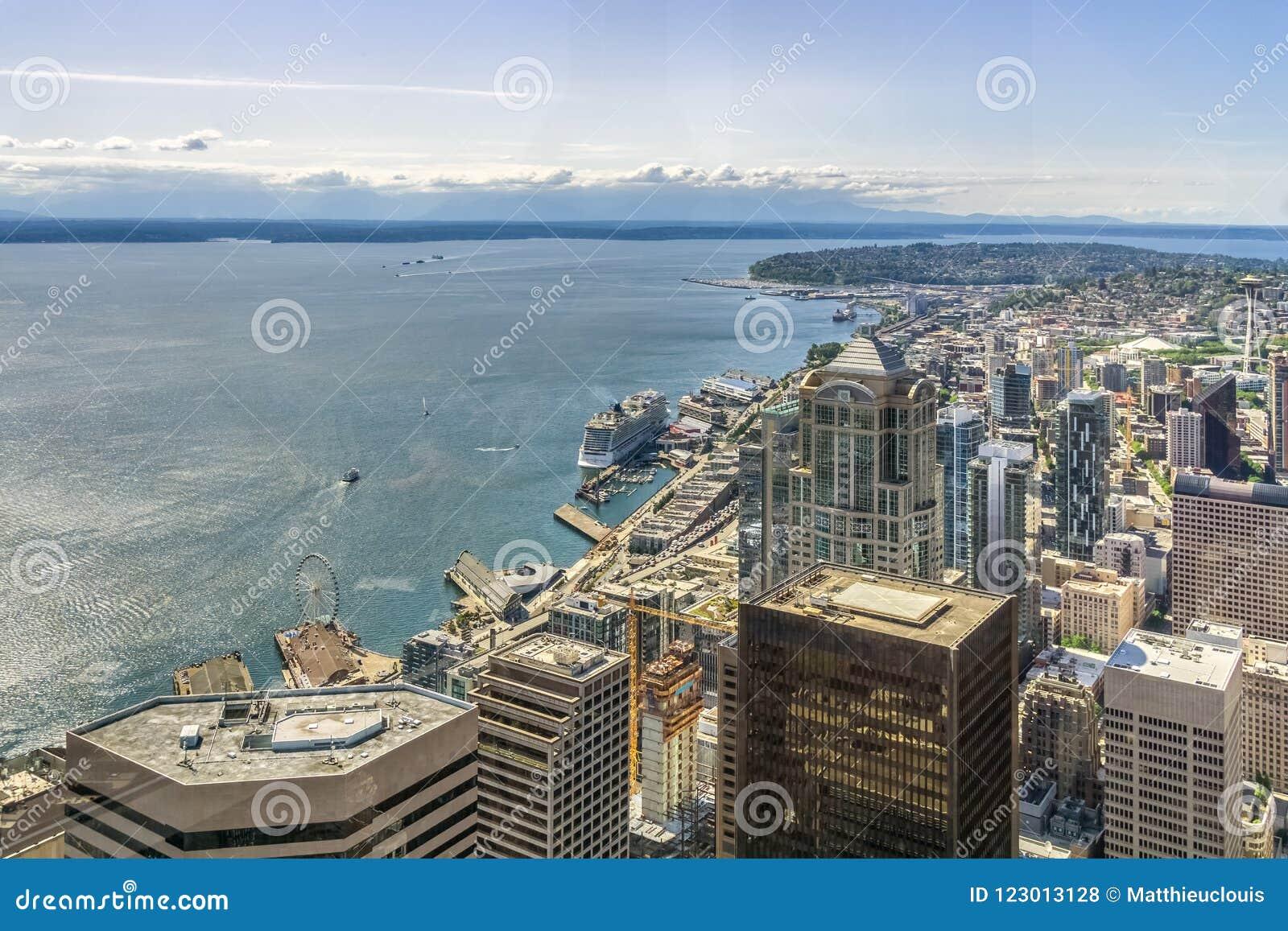 Горизонт Сиэтл воздушный взгляд seattle