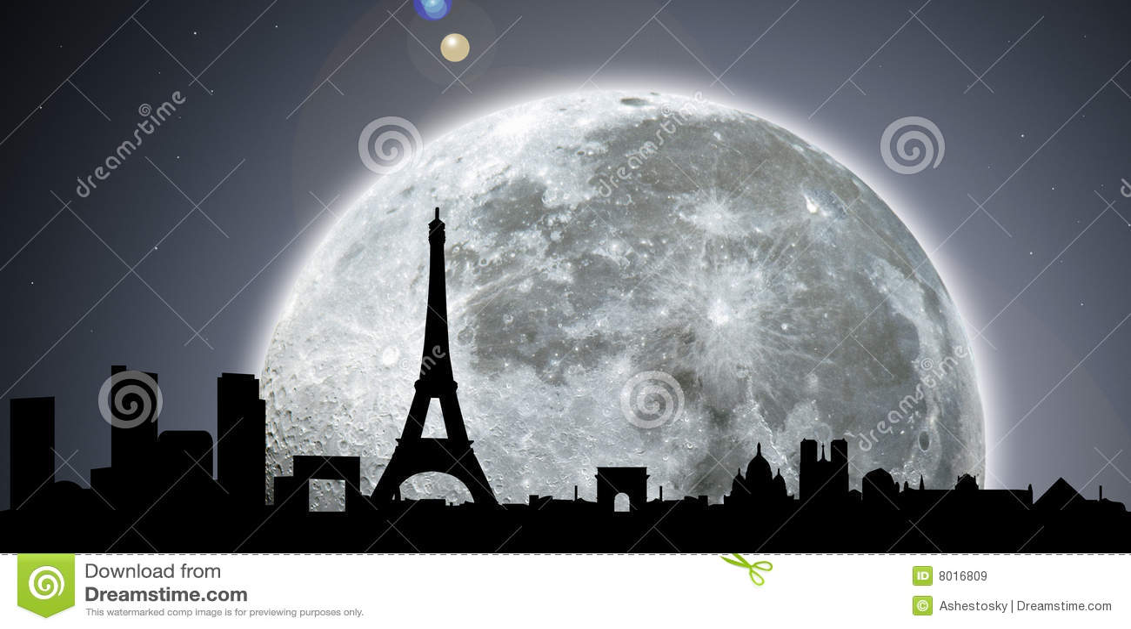 горизонт paris ночи луны
