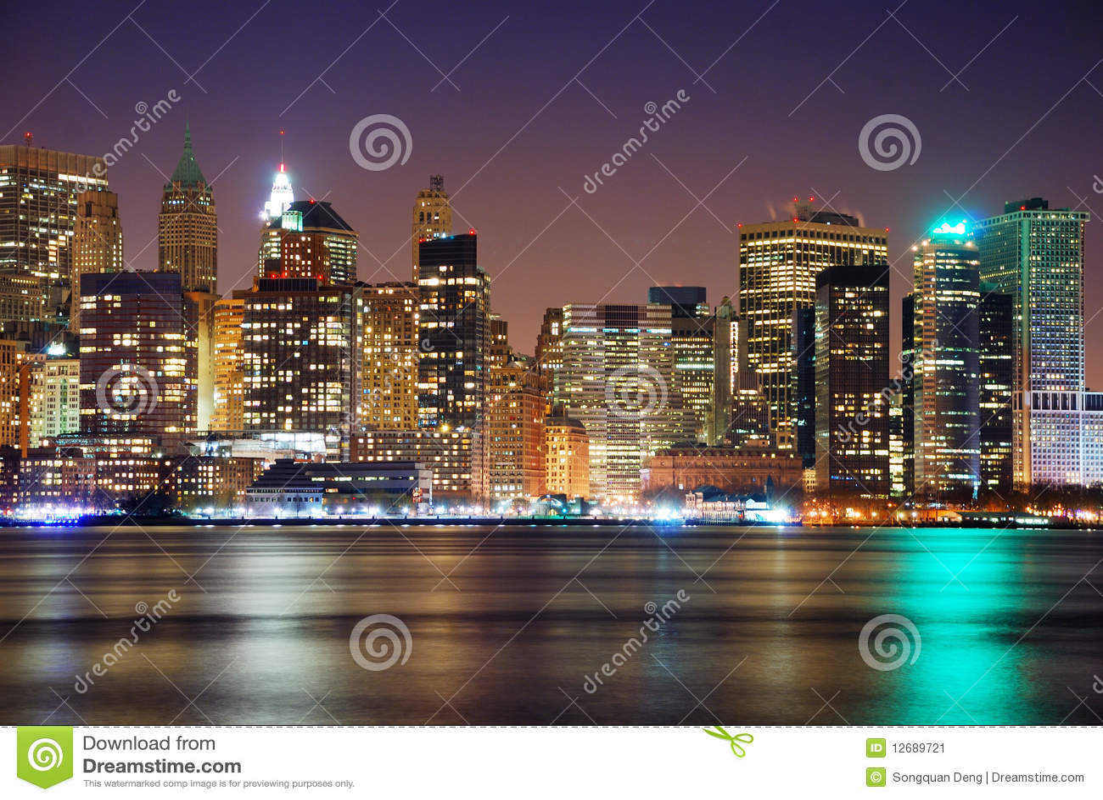 горизонт york панорамы ночи города новый