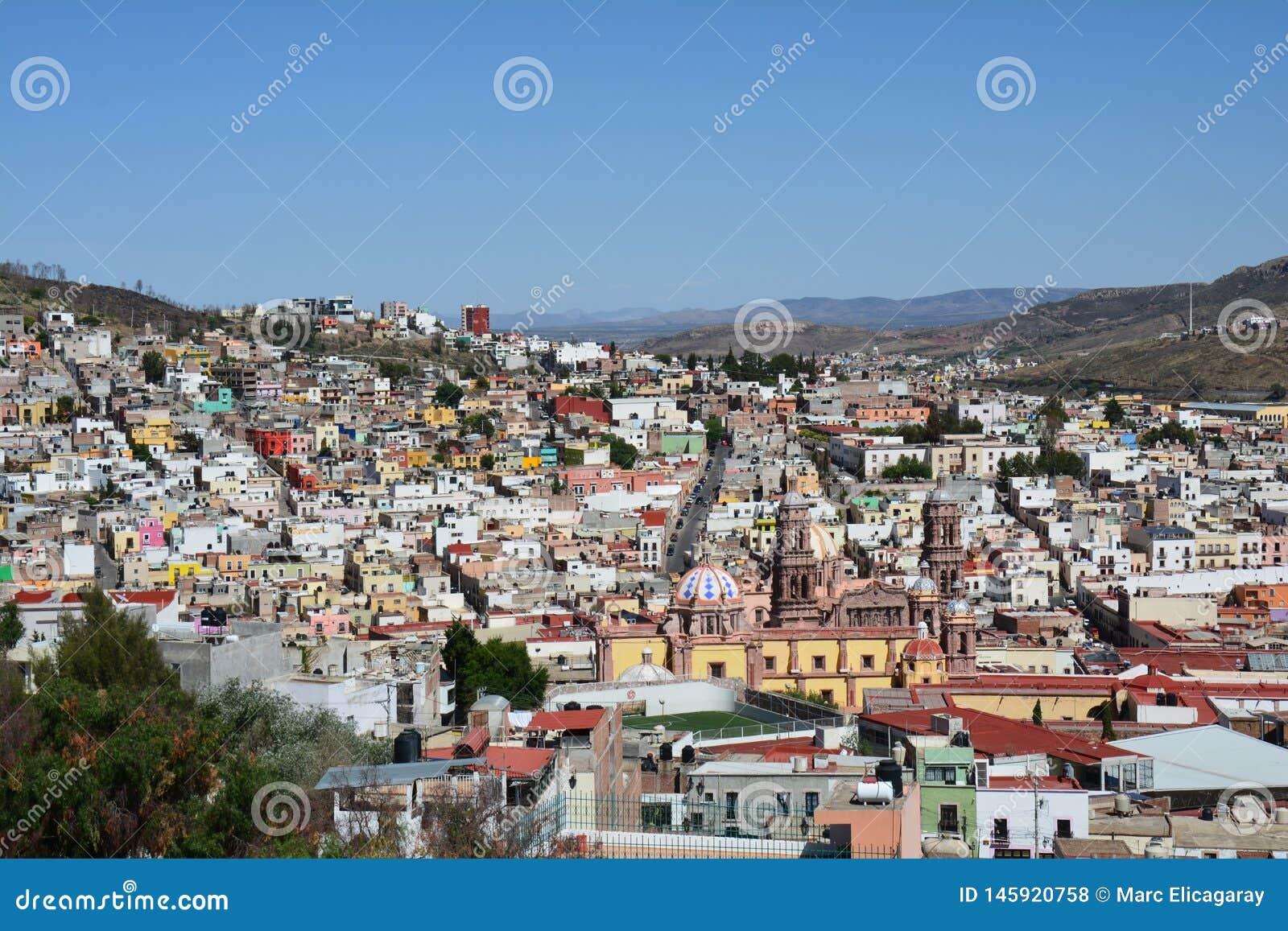 Городок Zacatecas старый в Мексике