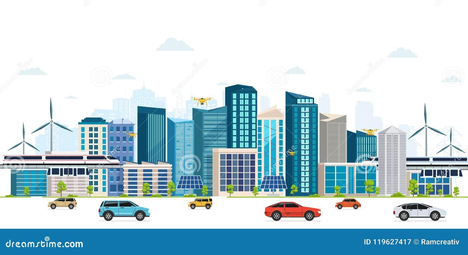 Городской ландшафт с большими современными зданиями, небоскребами, skyway