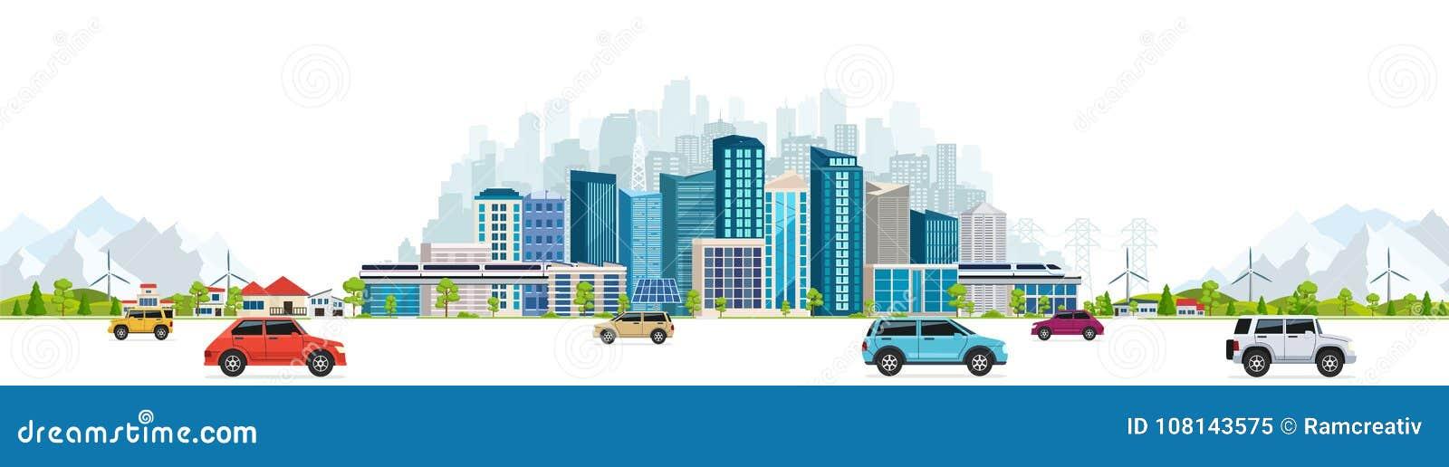 Городской ландшафт с большими современными зданиями