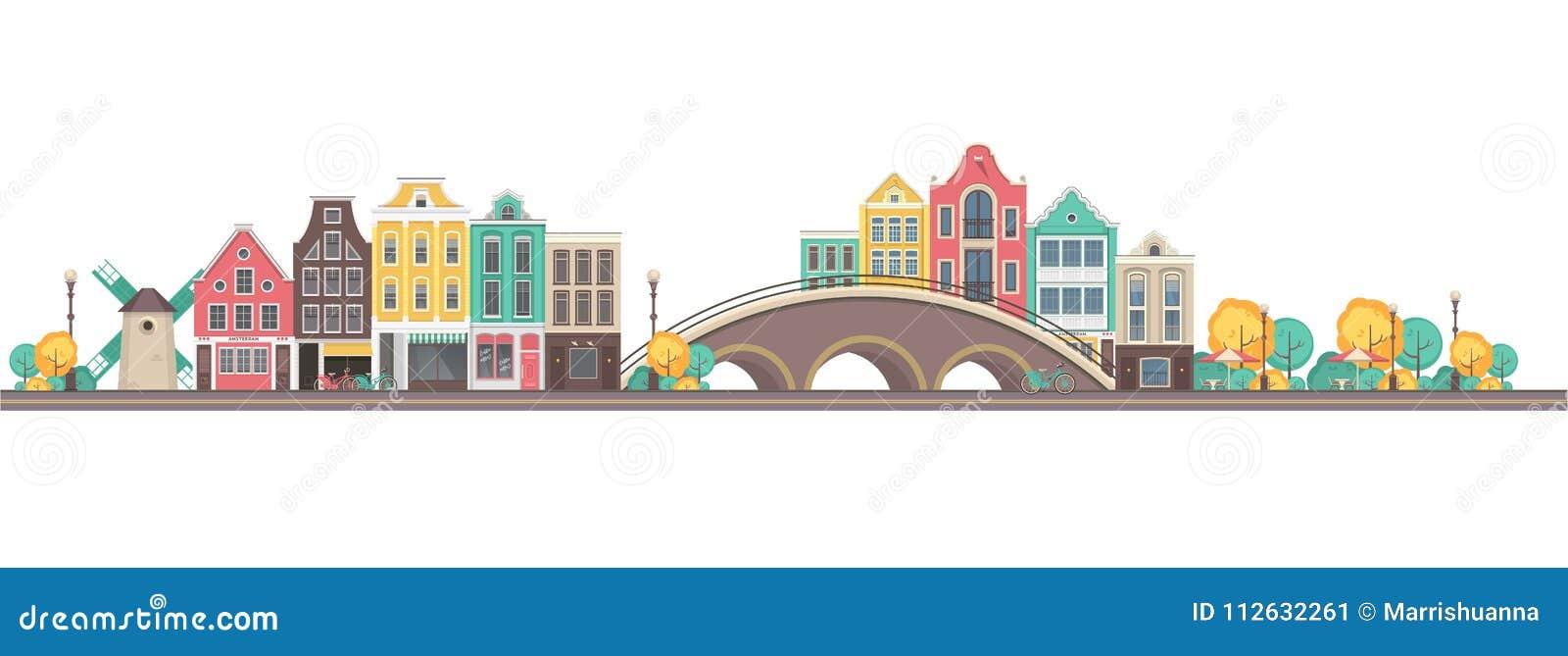 Город Амстердам вектора