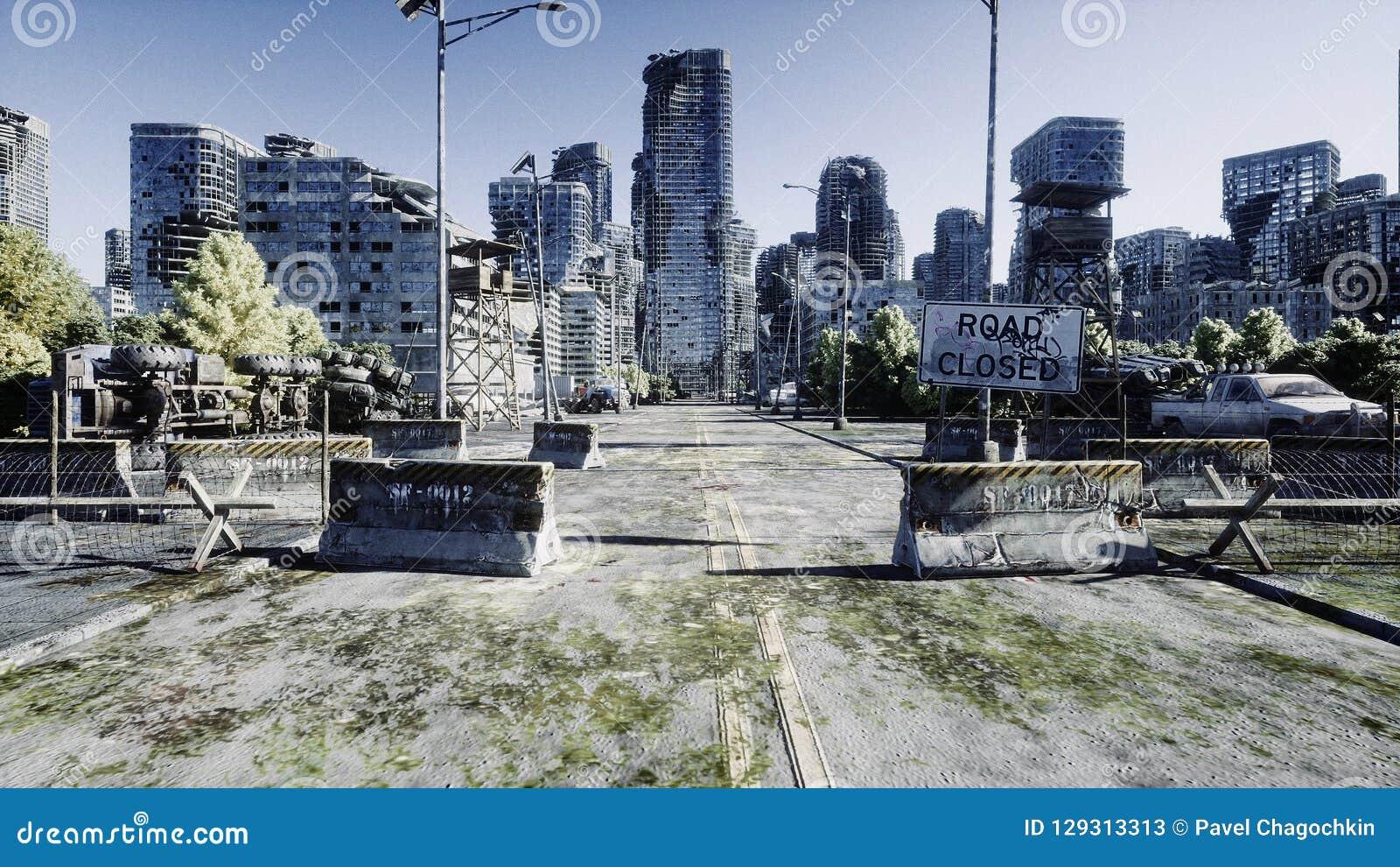 Город апокалипсиса Вид с воздуха разрушенного города Концепция апокалипсиса перевод 3d