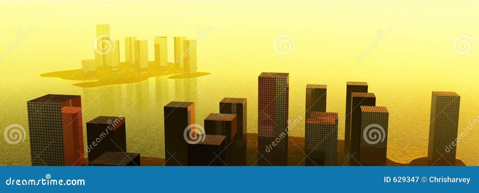 Download Город воды иллюстрация штока. иллюстрации насчитывающей свет - 629347