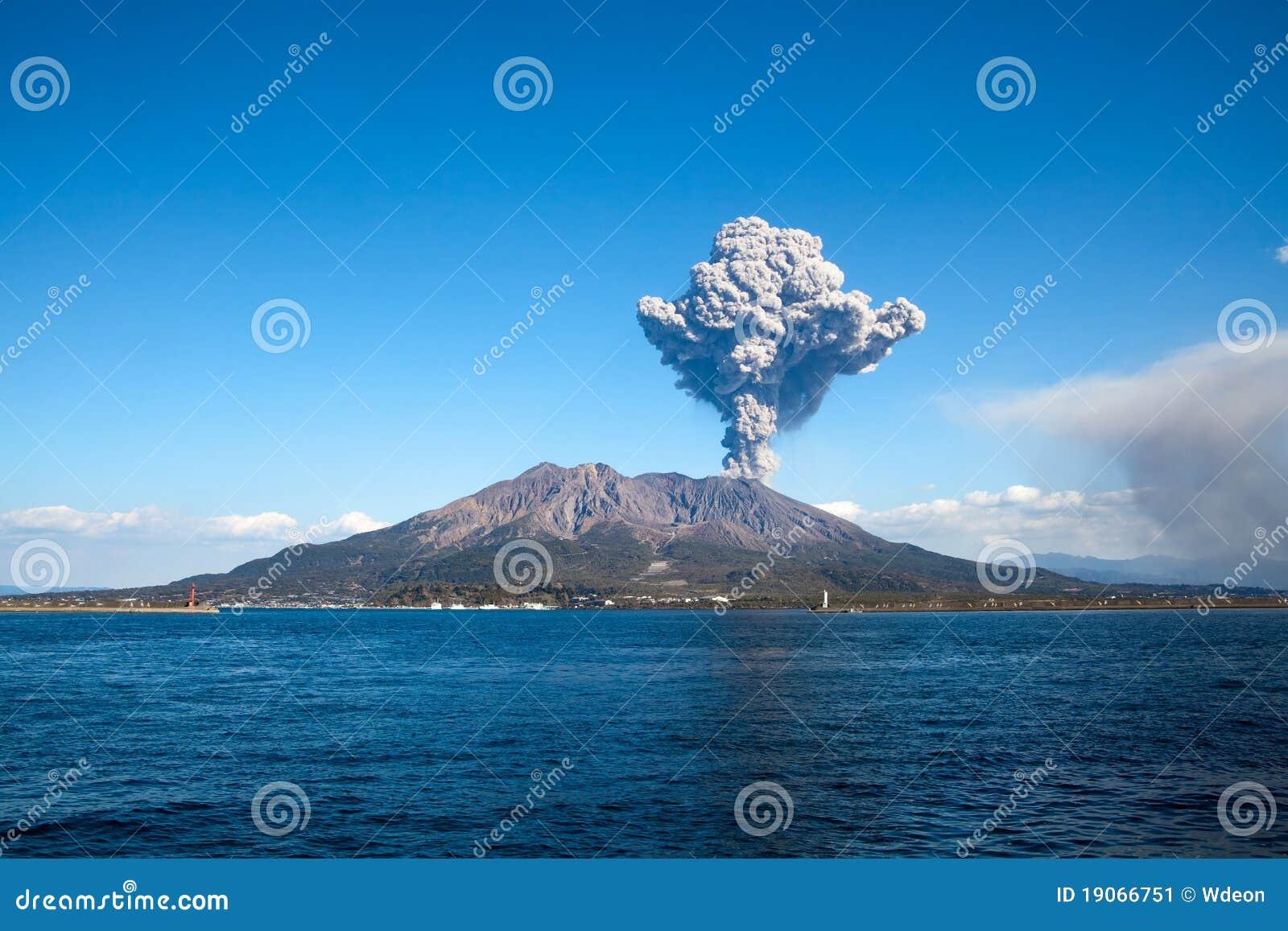 город извергая sakurajima японии kagoshima mt s