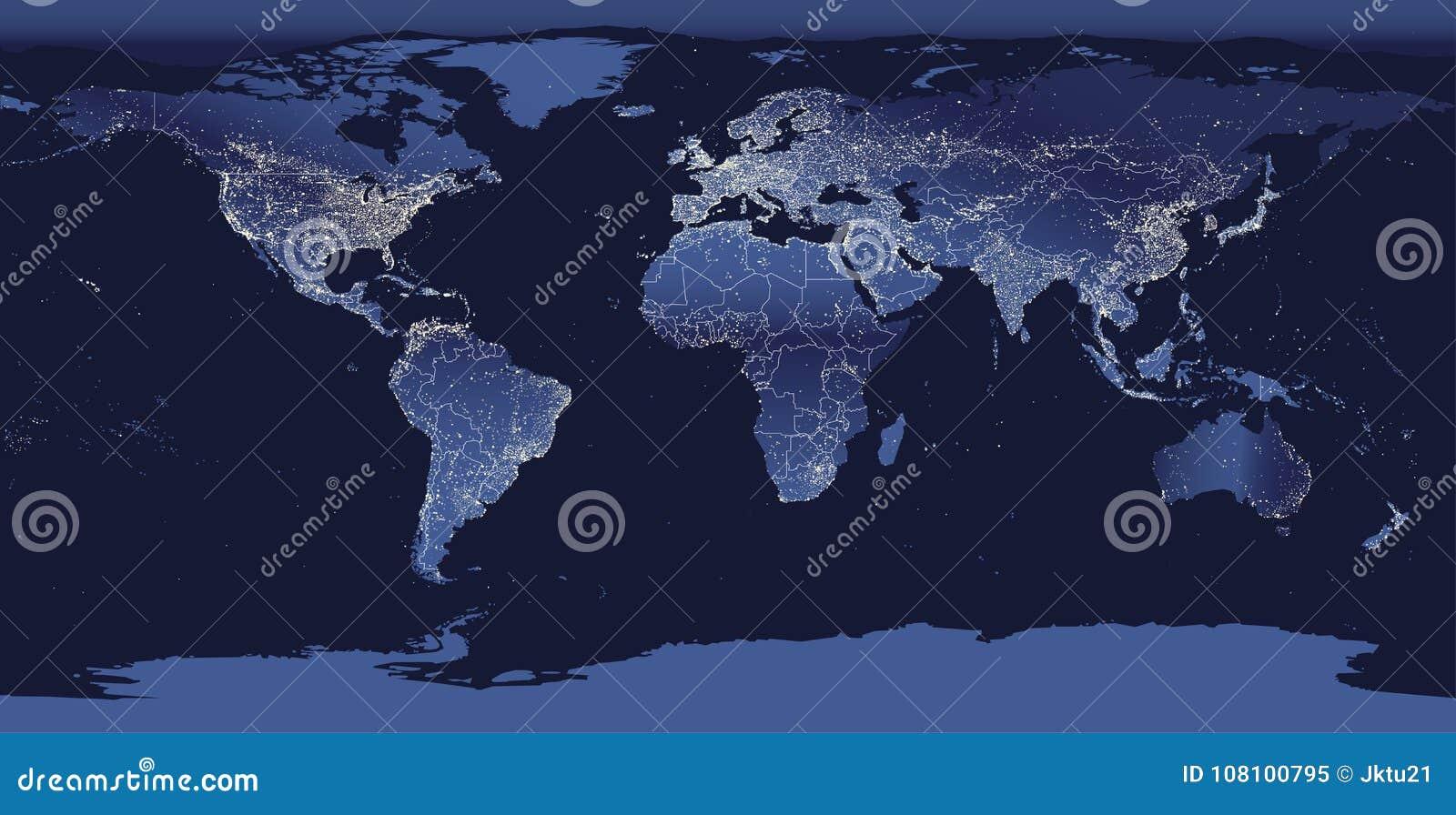 Город мира освещает карту Взгляд земли ночи от космоса также вектор иллюстрации притяжки corel