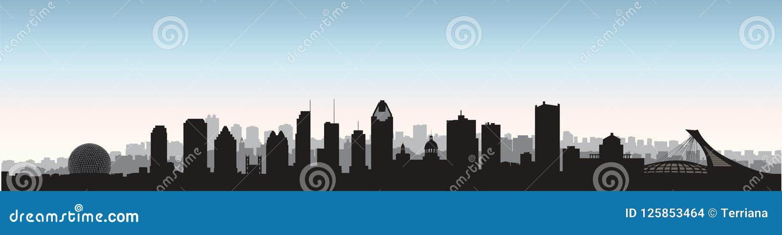 Город Монреаля, горизонт Канады Силуэт городского пейзажа панорамный с известными зданиями Канадские ориентир ориентиры