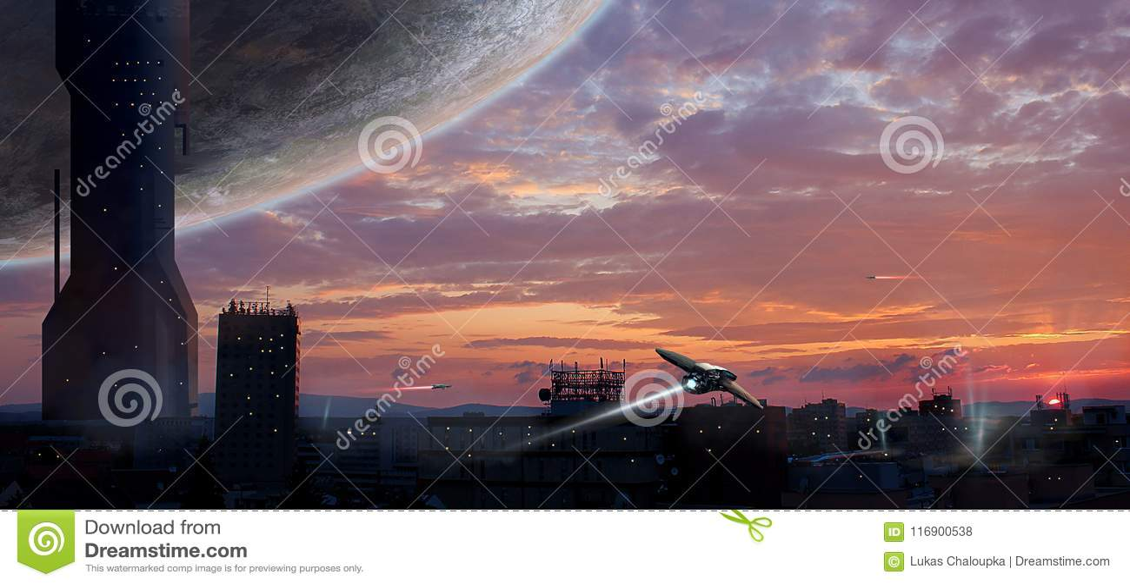 Город научной фантастики с планетой и космическими кораблями, манипуляцией фото, Elem