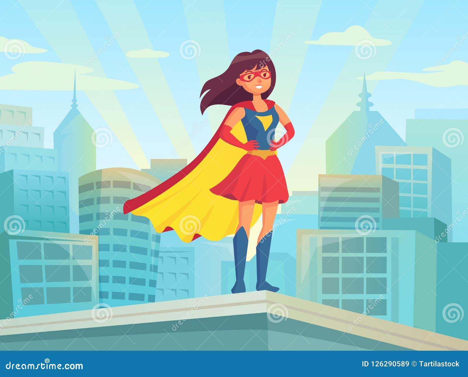Город супер женщины наблюдая Интересуйте девушкой героя в костюме с плащем на крыше городка Шуточный женский супергерой на вектор