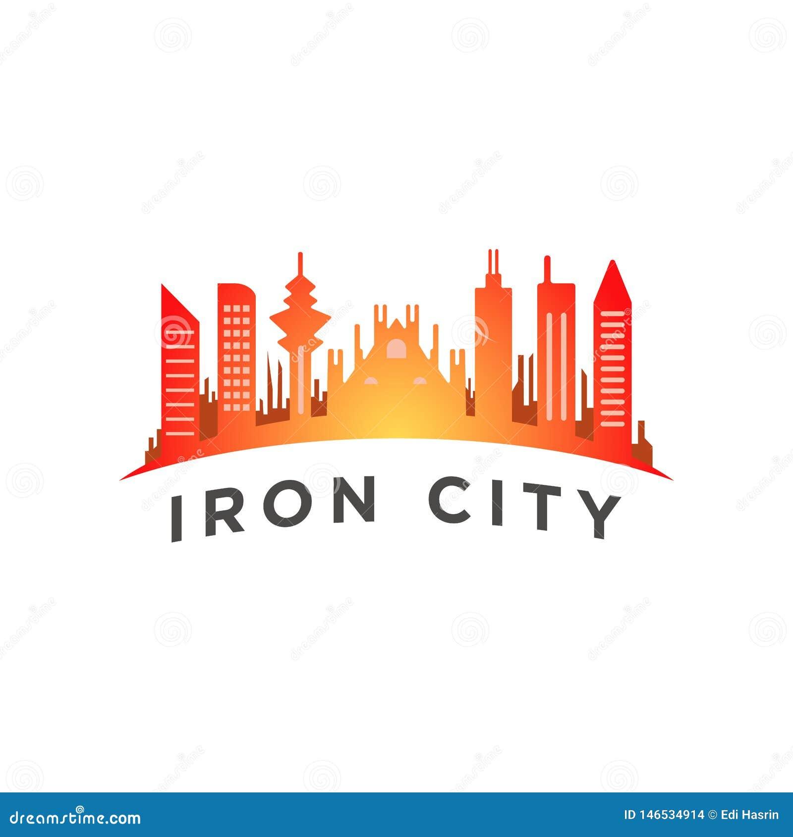 Город с высокорослым шаблоном логотипа башни