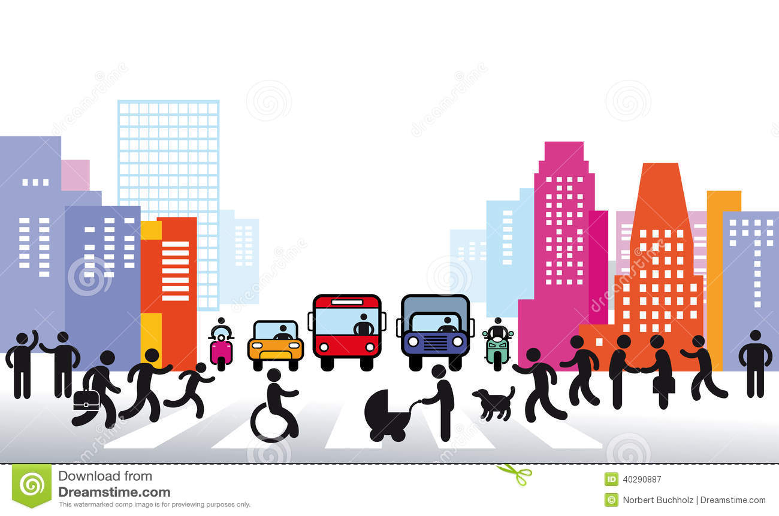 Город и иллюстрация движения