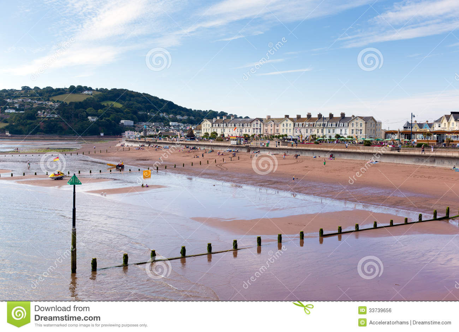 Городок Teignmouth и пляж Девон Англия