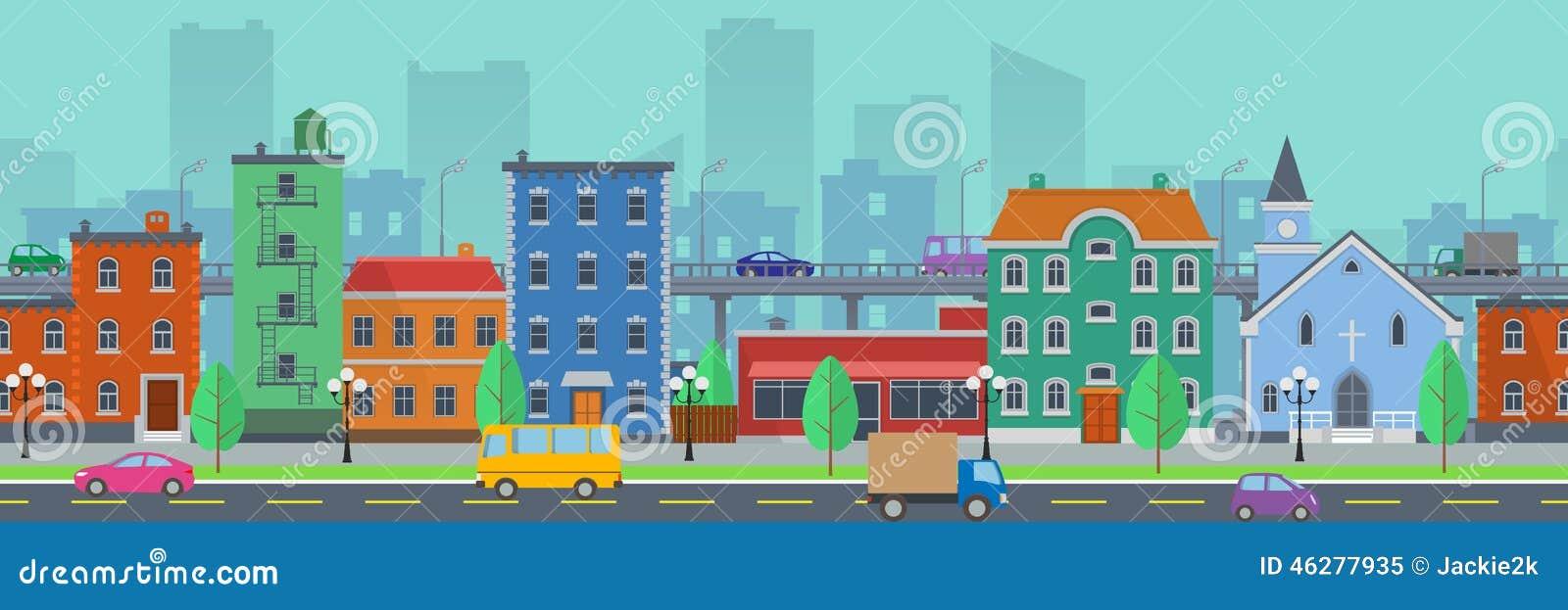 Городской пейзаж широкого экрана в плоском стиле