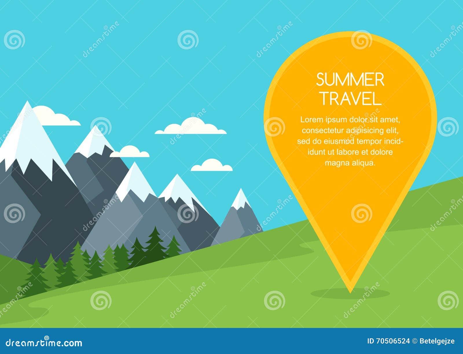 Горы ландшафт лета или весны, предпосылка вектора Метка отображения Pin с местом для текста