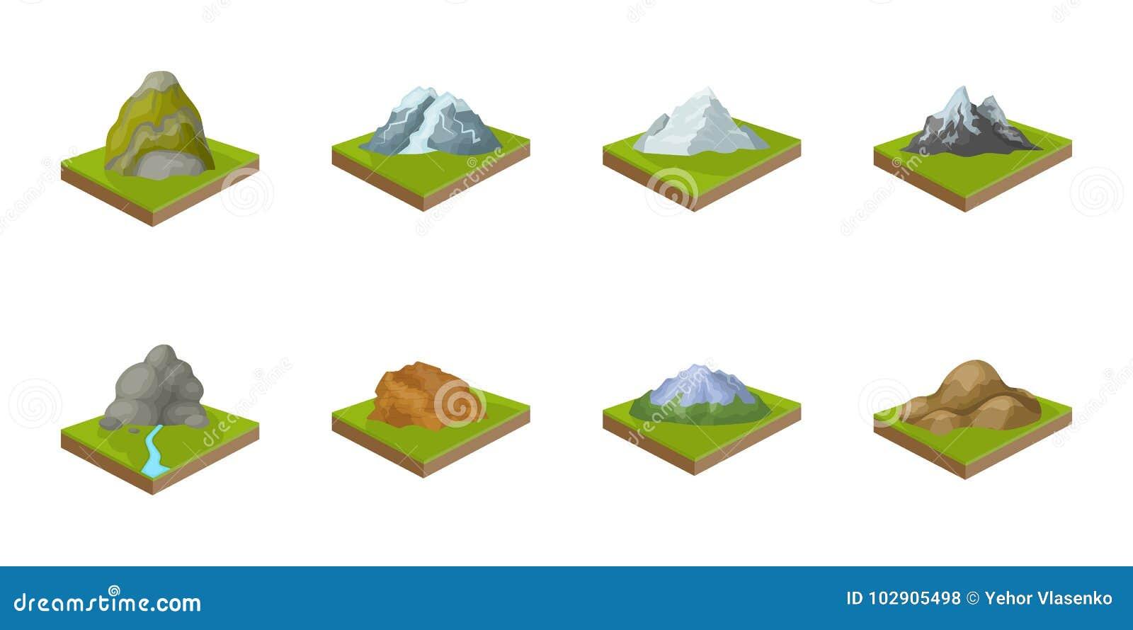 Горы, массивнейшие значки в собрании комплекта для дизайна Поверхность сети запаса символа вектора земли равновеликой
