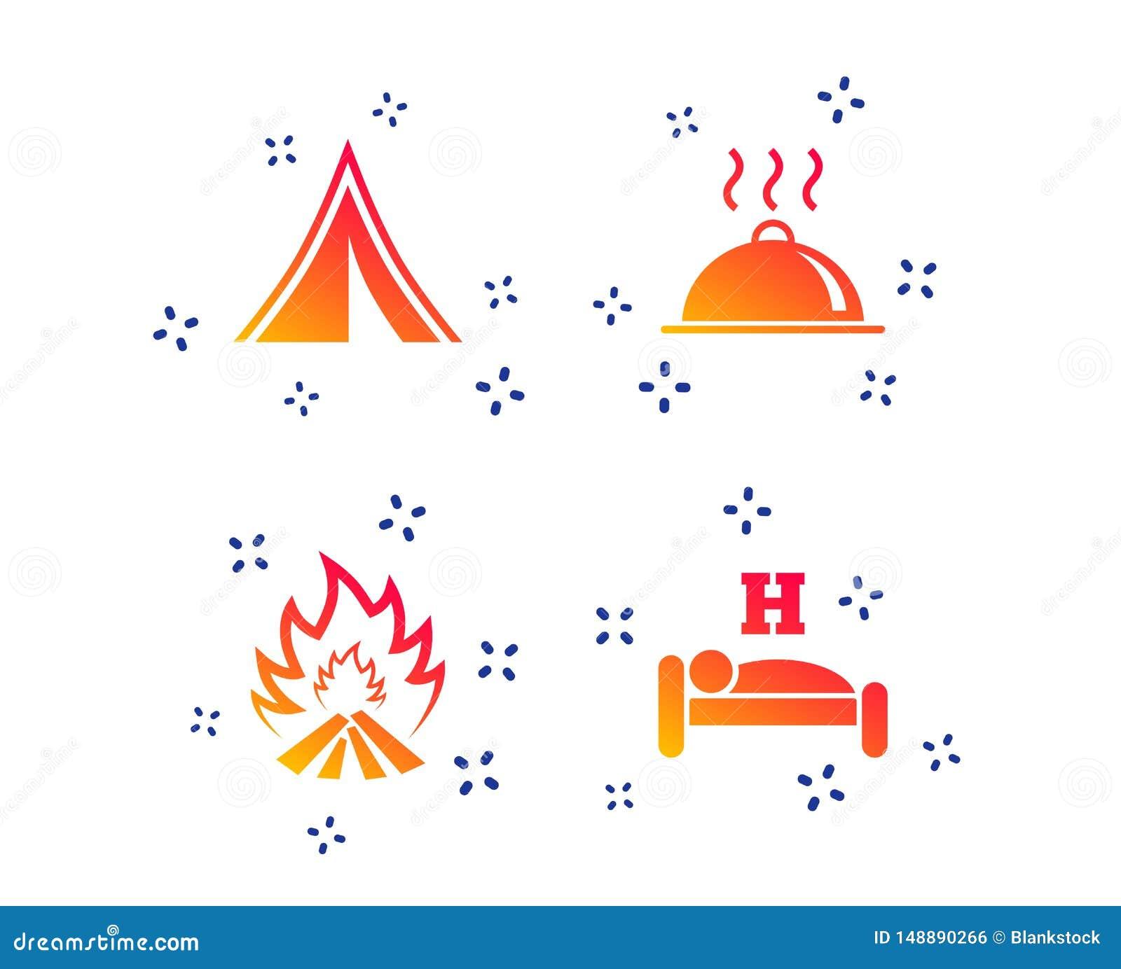 Горячая еда, сон, располагаясь лагерем шатер и знаки огня r