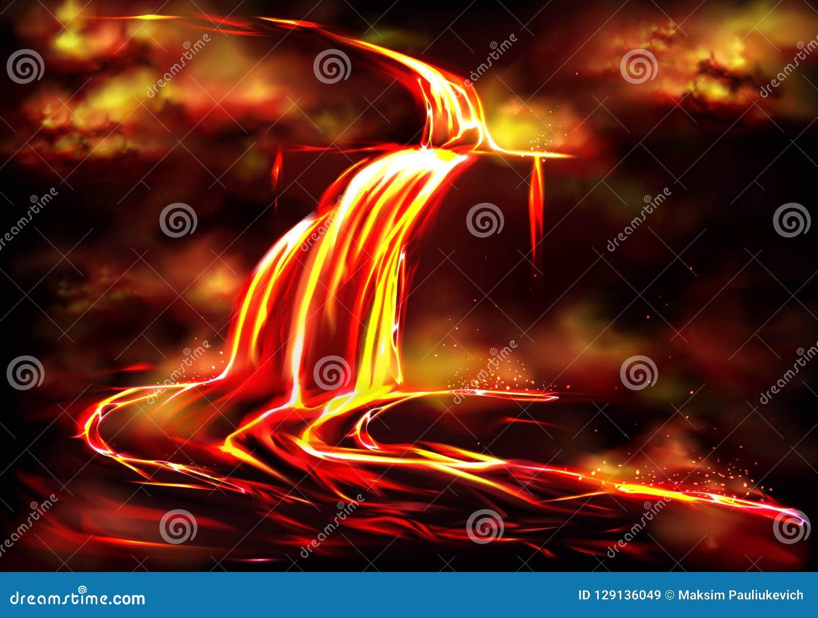 Горячая подача магмы причиненная вектором вулканической деятельности