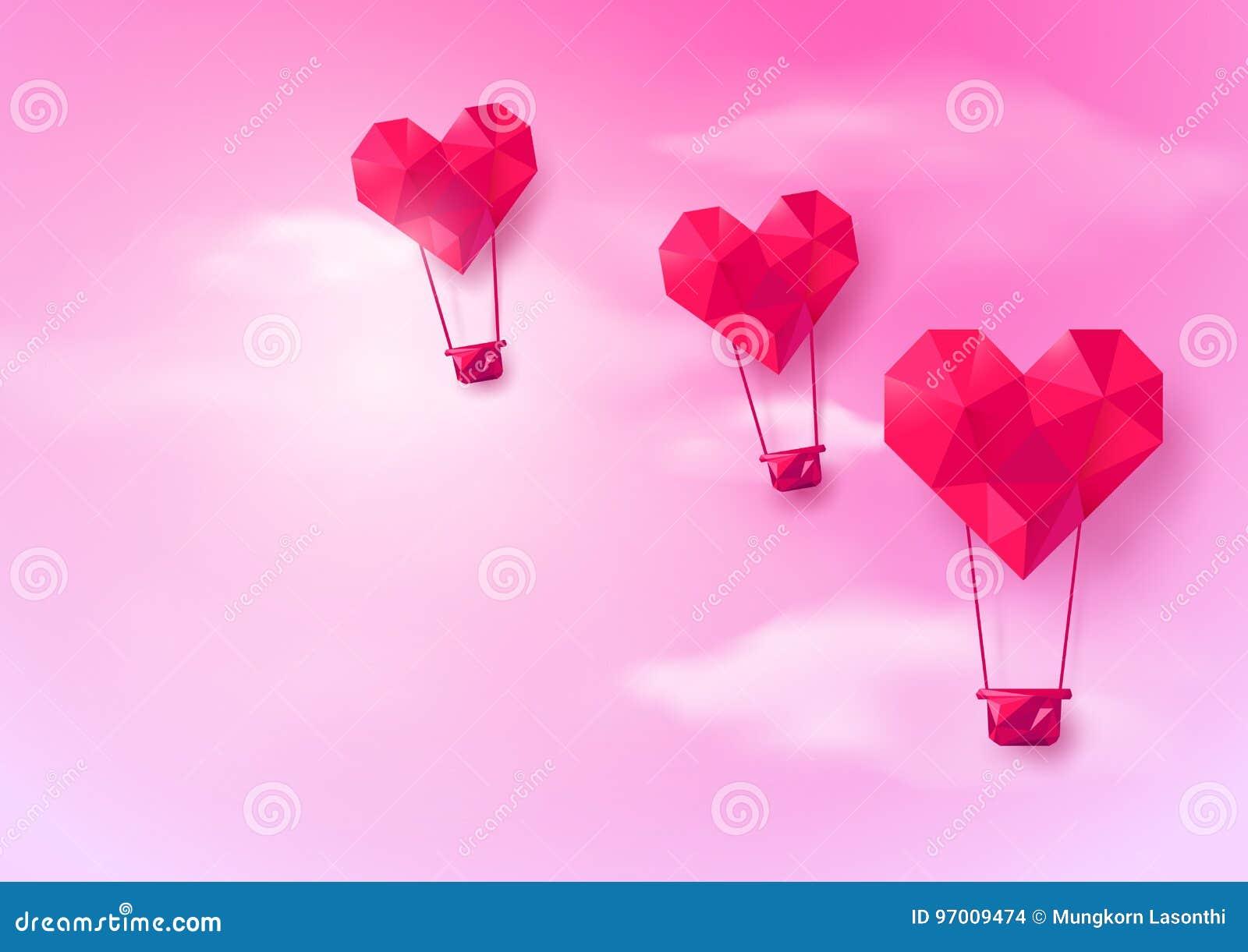 Горячее сердце воздушных шаров сформировало летание на розовой предпосылке неба