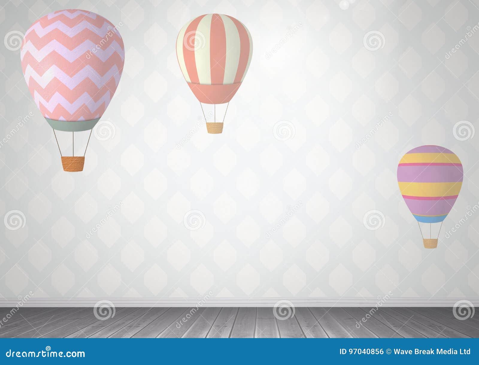 горячие воздушные шары в комнате