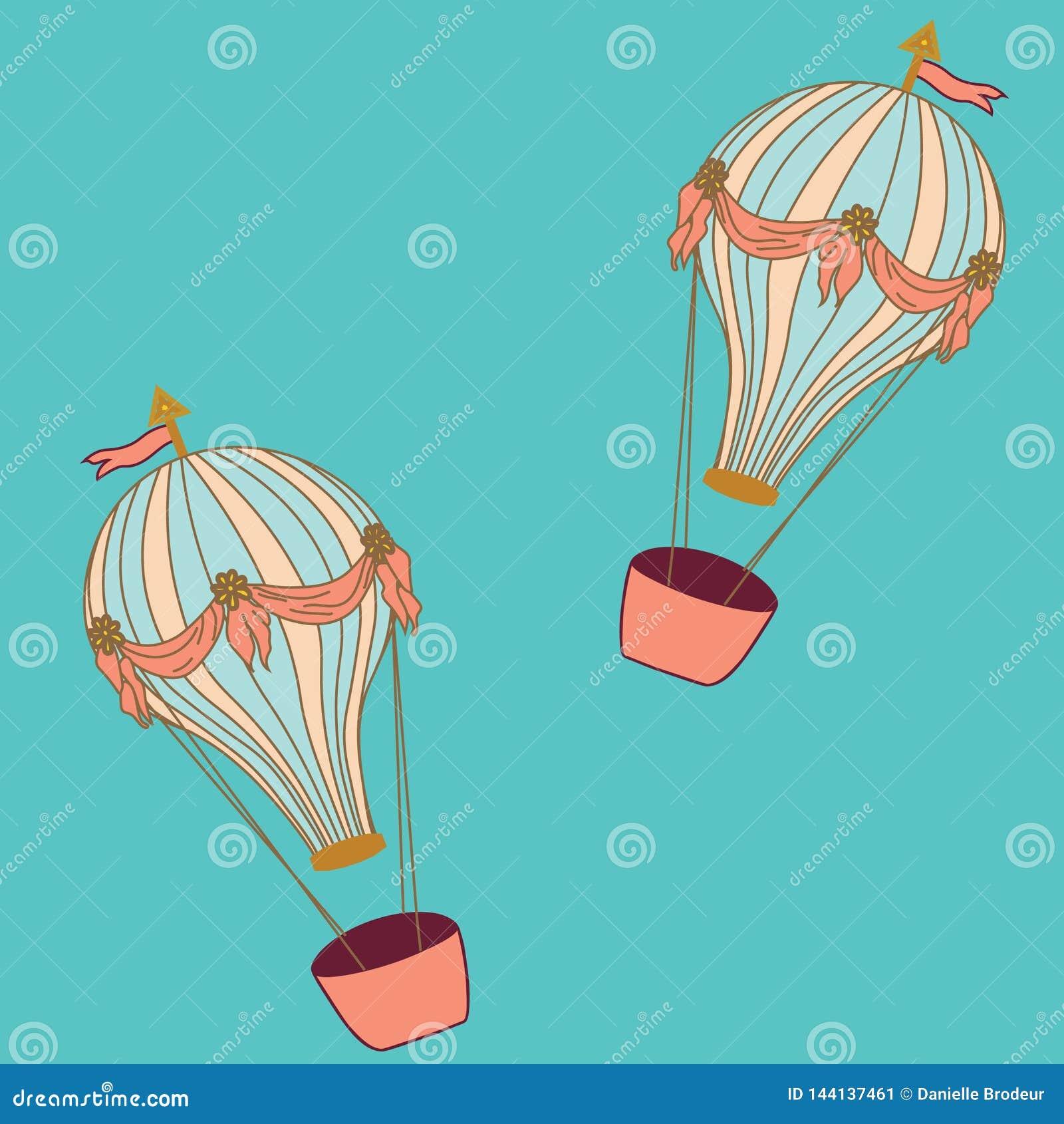Горячие воздушные шары на предпосылке aqua