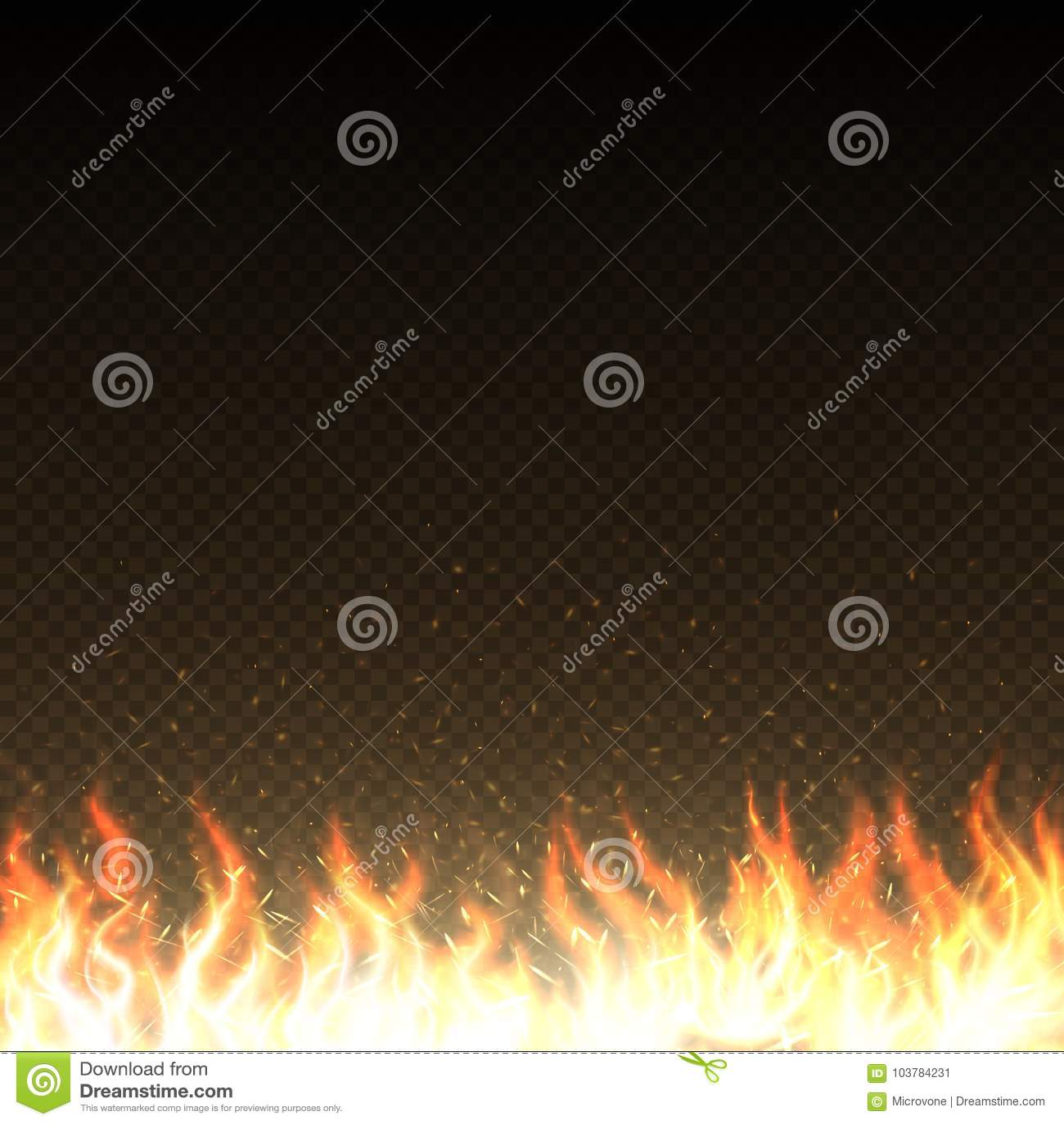 Горячие пламена огня с накалять искрятся изолированный шаблон вектора