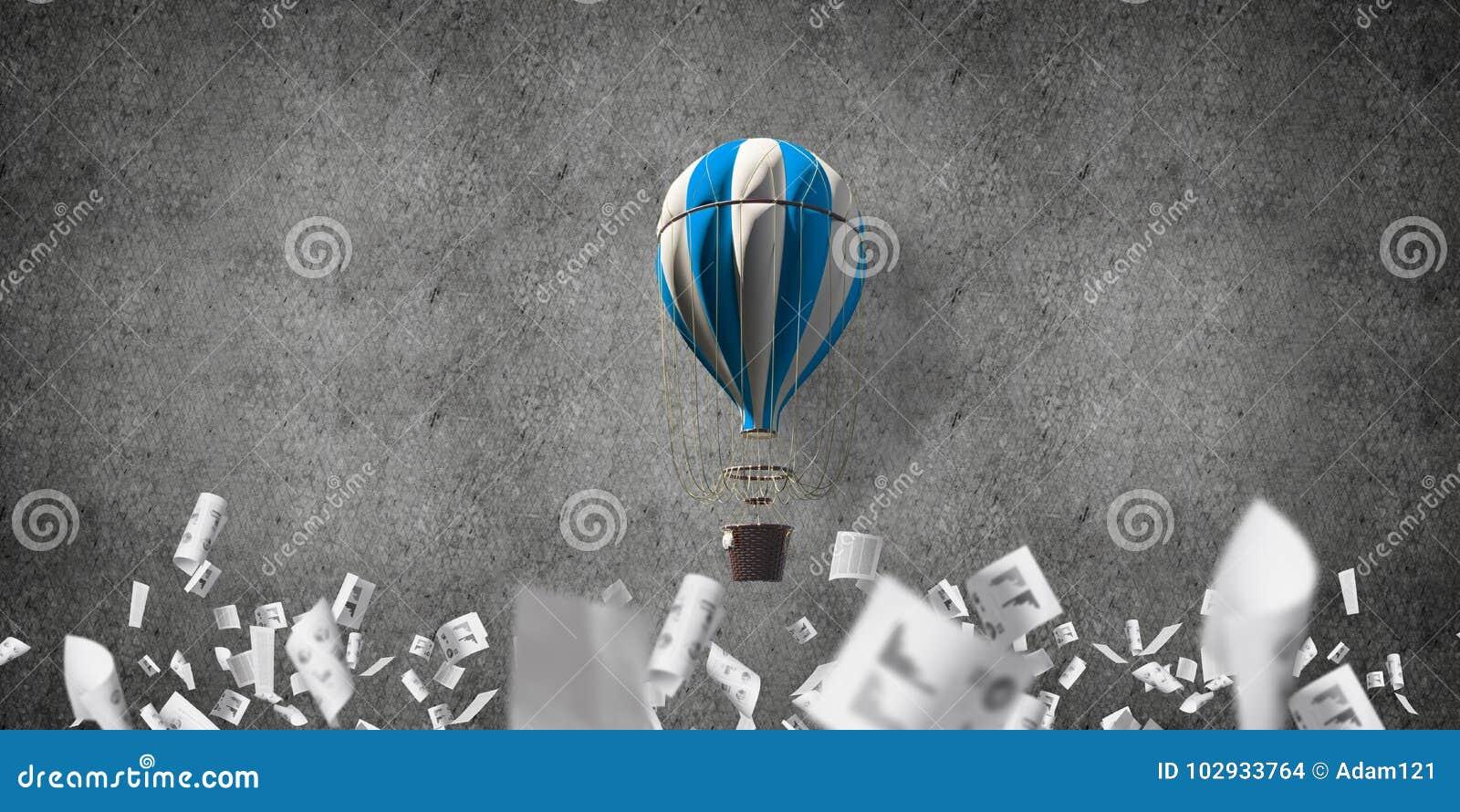 Горячий воздушный шар летая в комнате