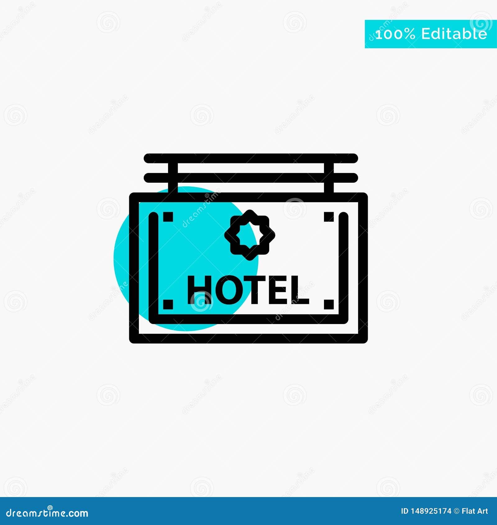 Гостиница, знак, доска, значок вектора пункта круга самого интересного бирюзы направления