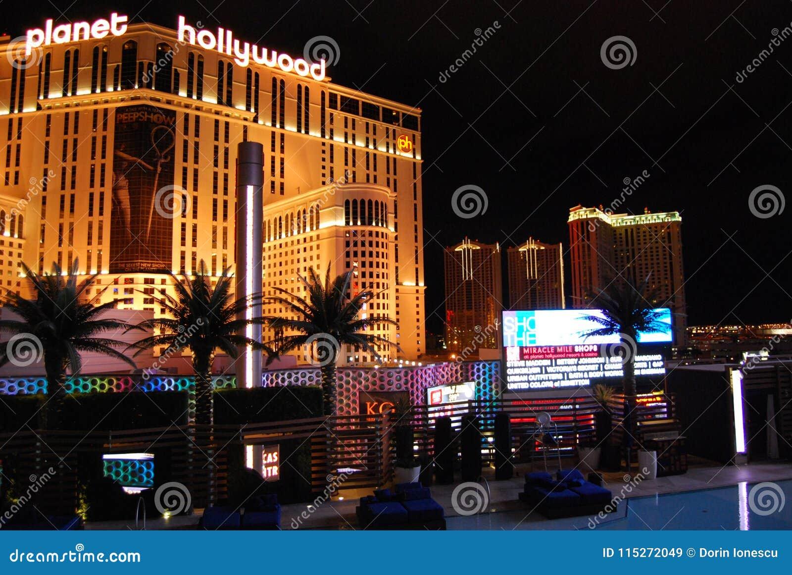 Гостиница Парижа и казино, курорт Голливуда планеты и казино, Лас-Вегас, район метрополитена, ноча, метрополия, ориентир ориентир