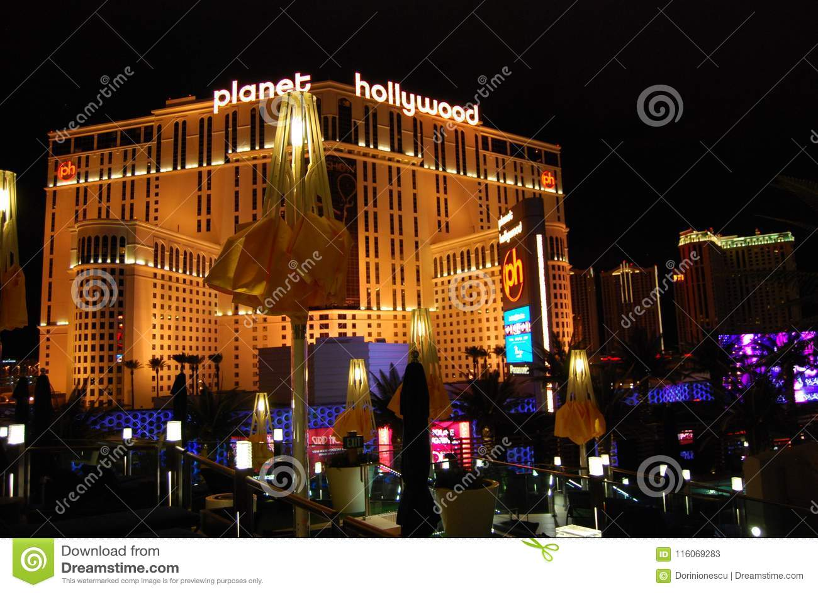 Гостиница Парижа и казино, Лас-Вегас, курорт Голливуда планеты и казино, Лас-Вегас, ноча, ориентир ориентир, метрополия, район ме
