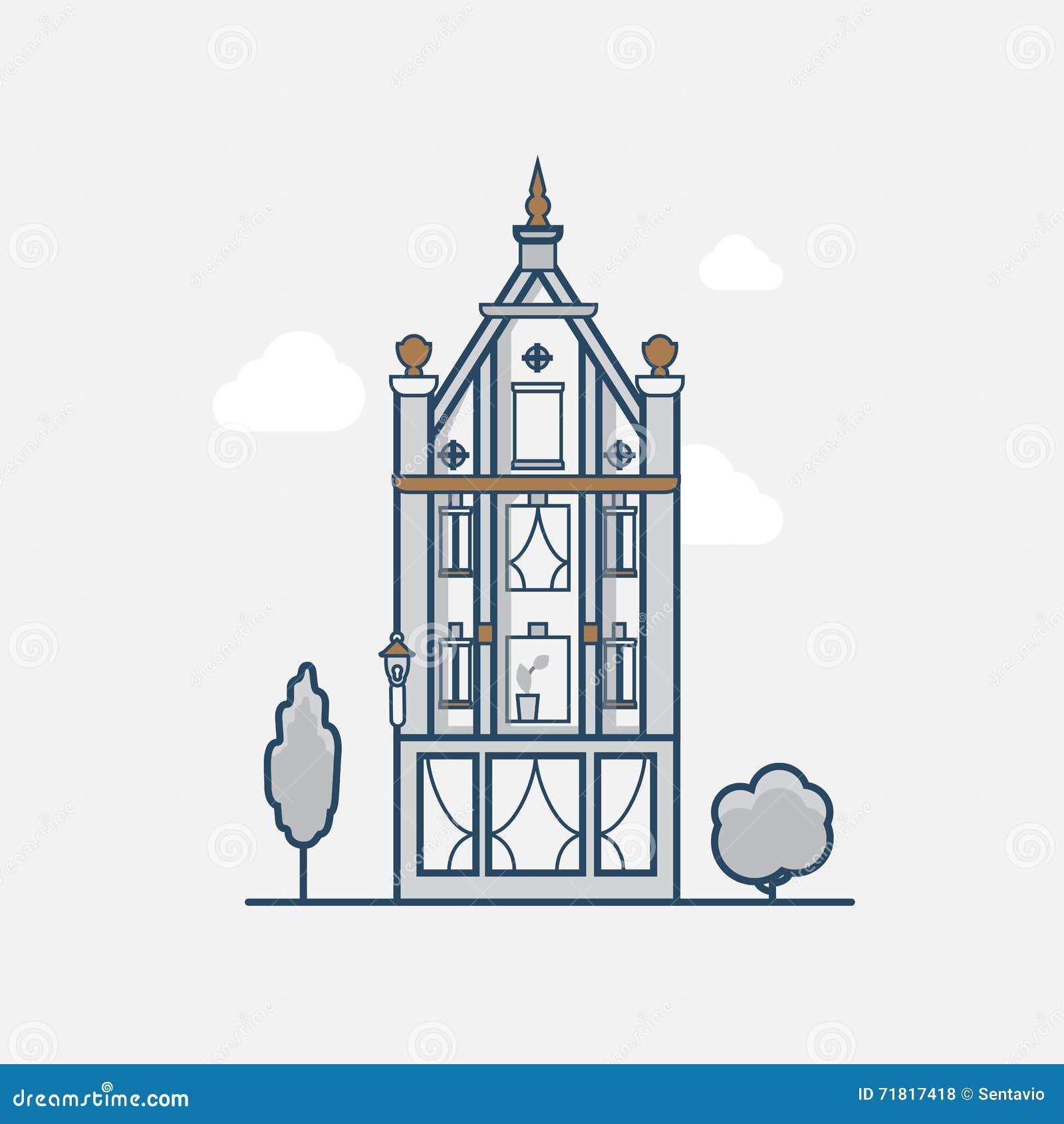 Готическая винтажная гостиница здания архитектуры линейно