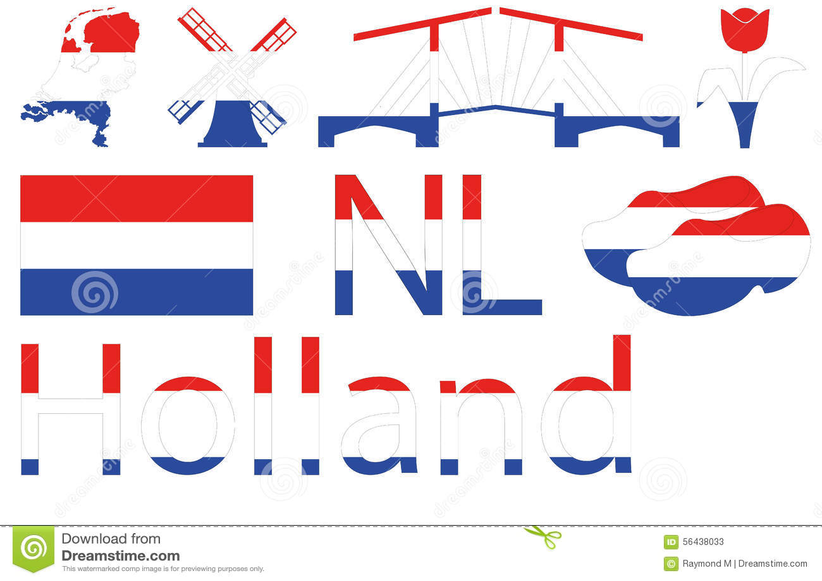 Голландские значки в красной белой сини