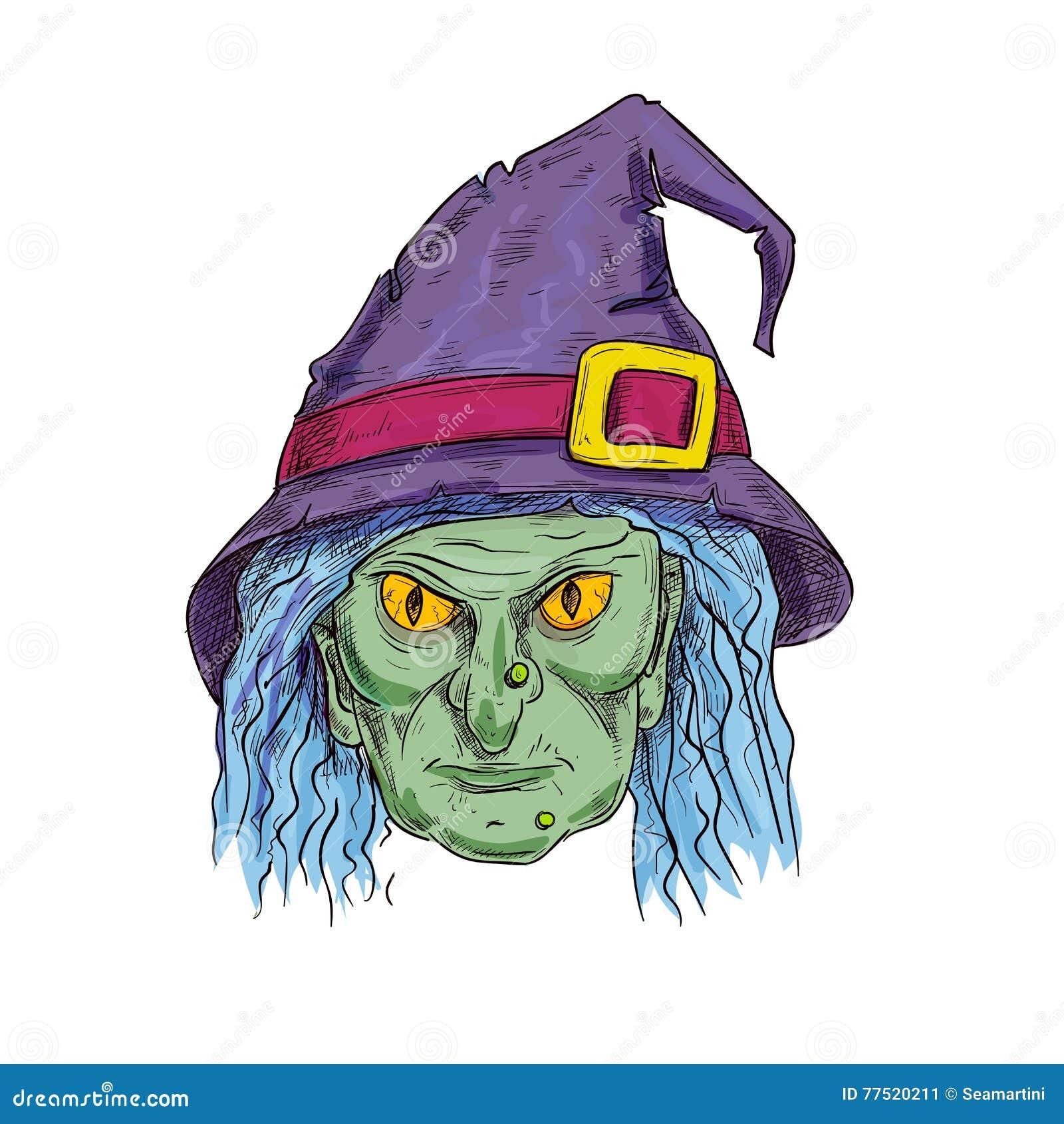 Голова ведьмы в значке эскиза шляпы знахаря