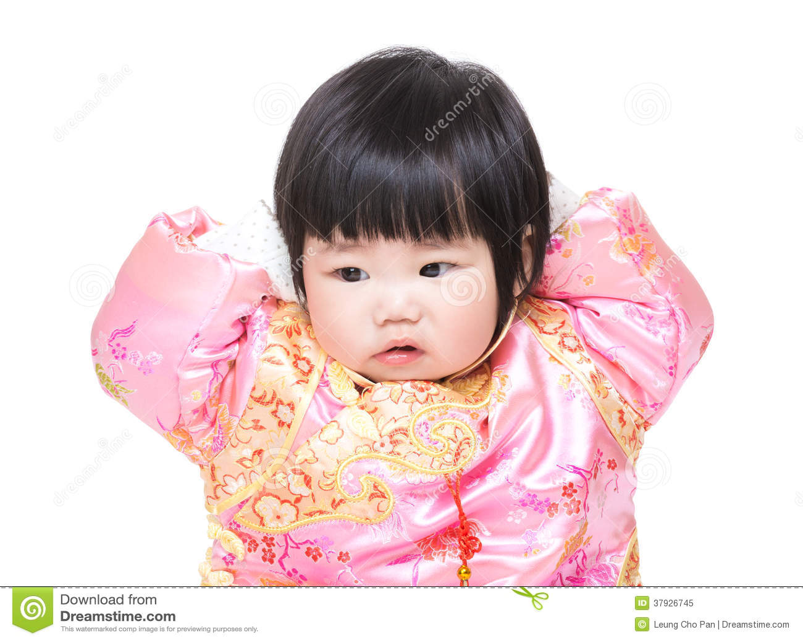 Голова ребёнка касающая с костюмом традиционного китайския