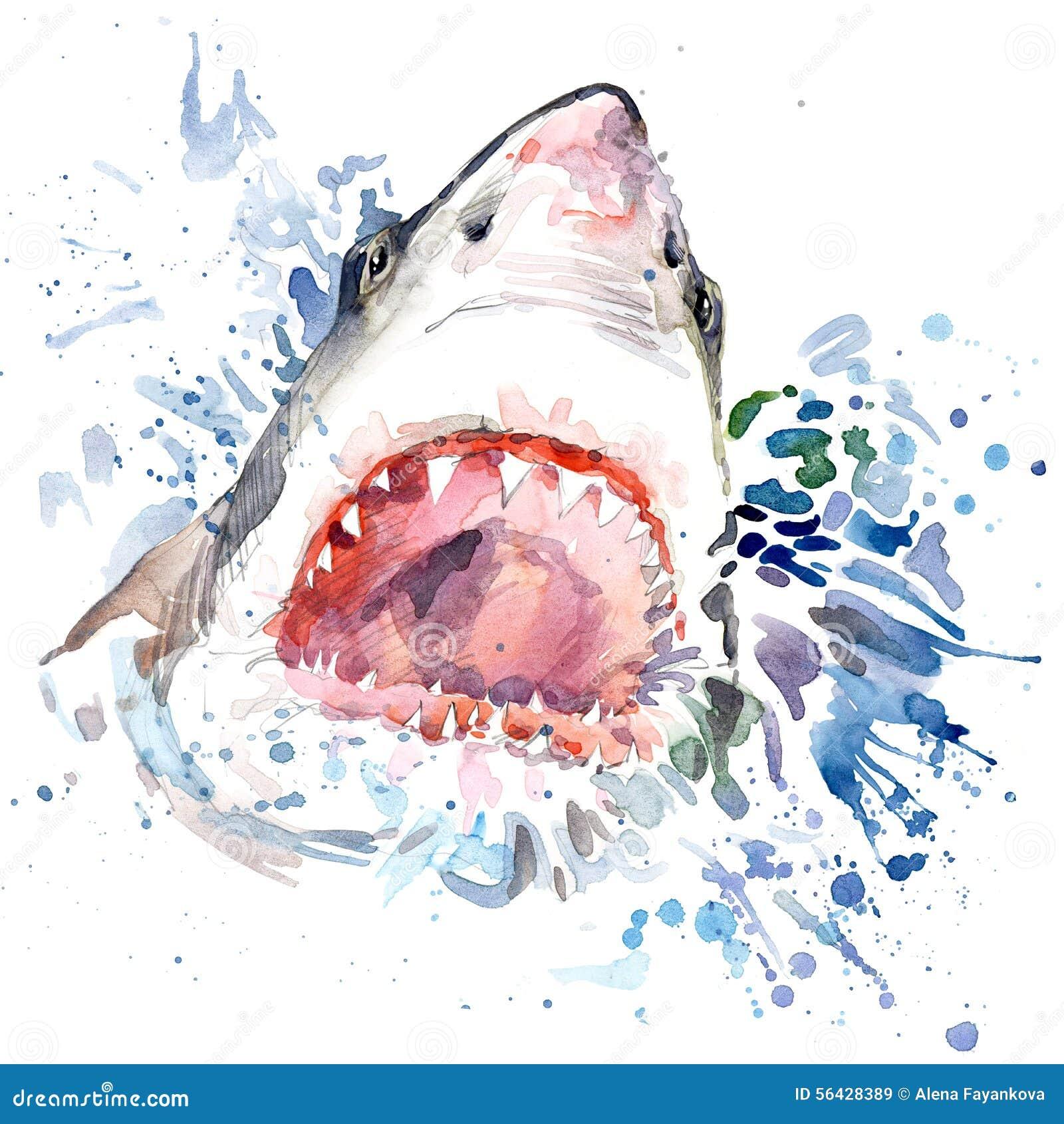 Голодные графики футболки акулы иллюстрация акулы с предпосылкой выплеска текстурированной акварелью необыкновенная повешенная ак