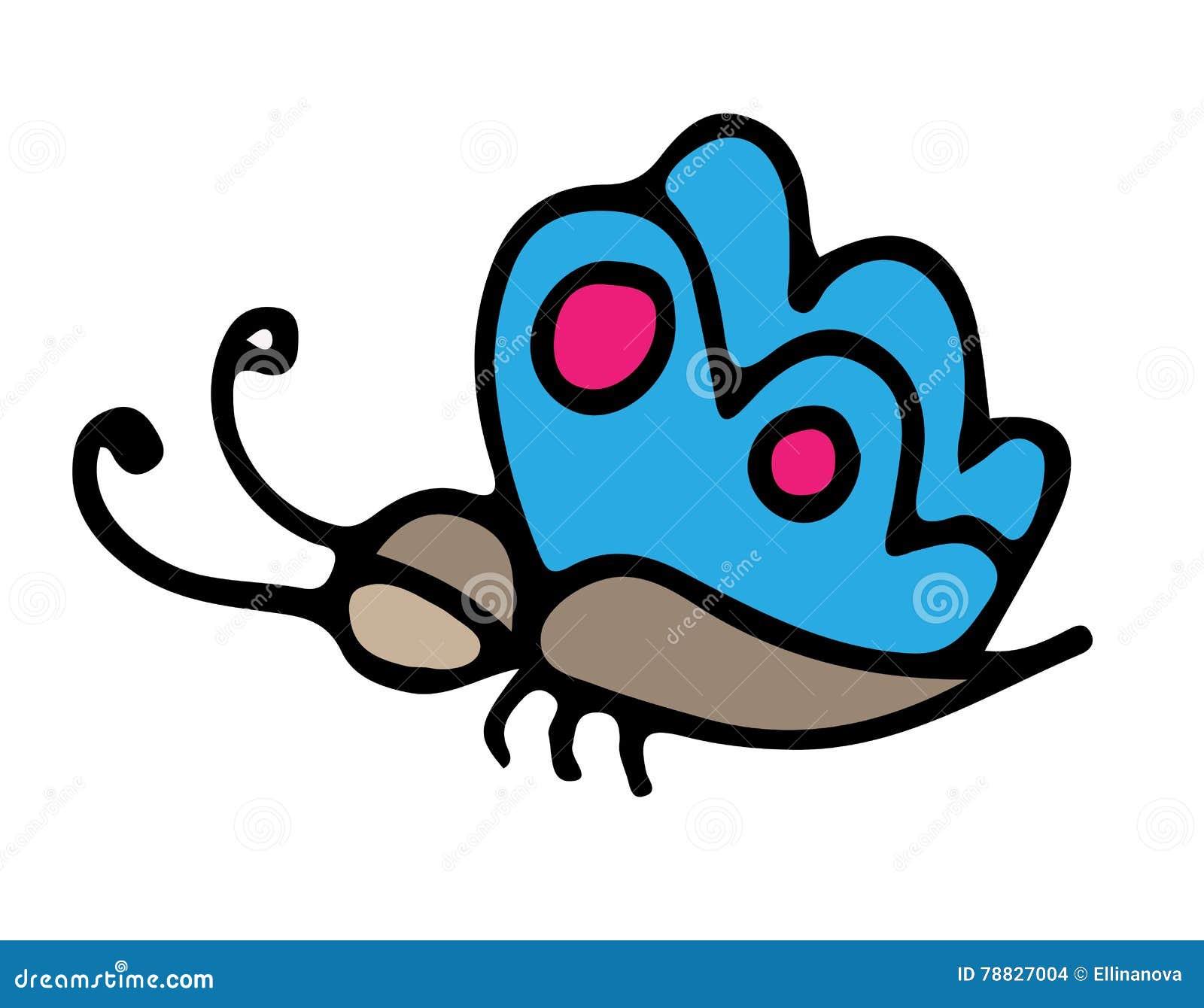 голубая бабочка для татуировки книжка раскраски иллюстрация