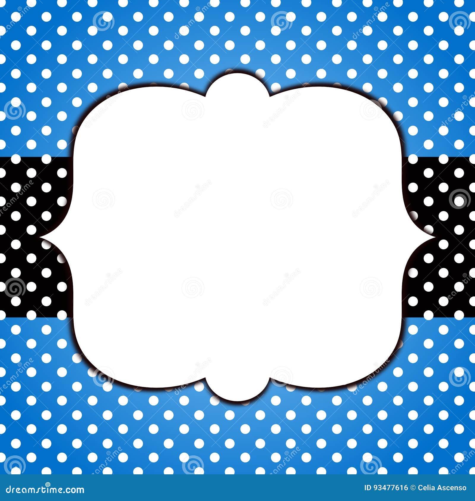 Голубая поздравительная открытка рамки точек польки grunge