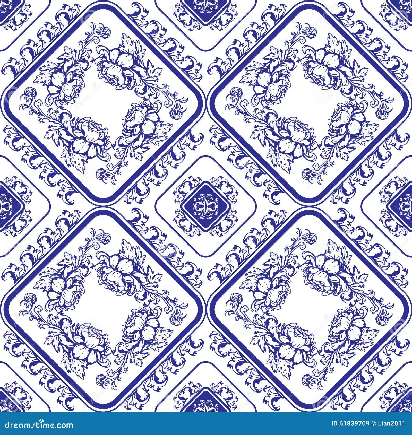 голубая флористическая картина безшовная Предпосылка в стиле китайца