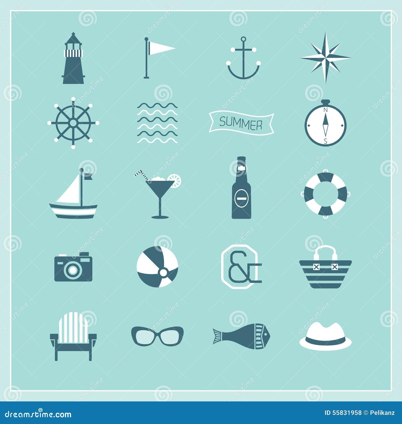 Голубое лето, установленные значки военноморских, и пляжа