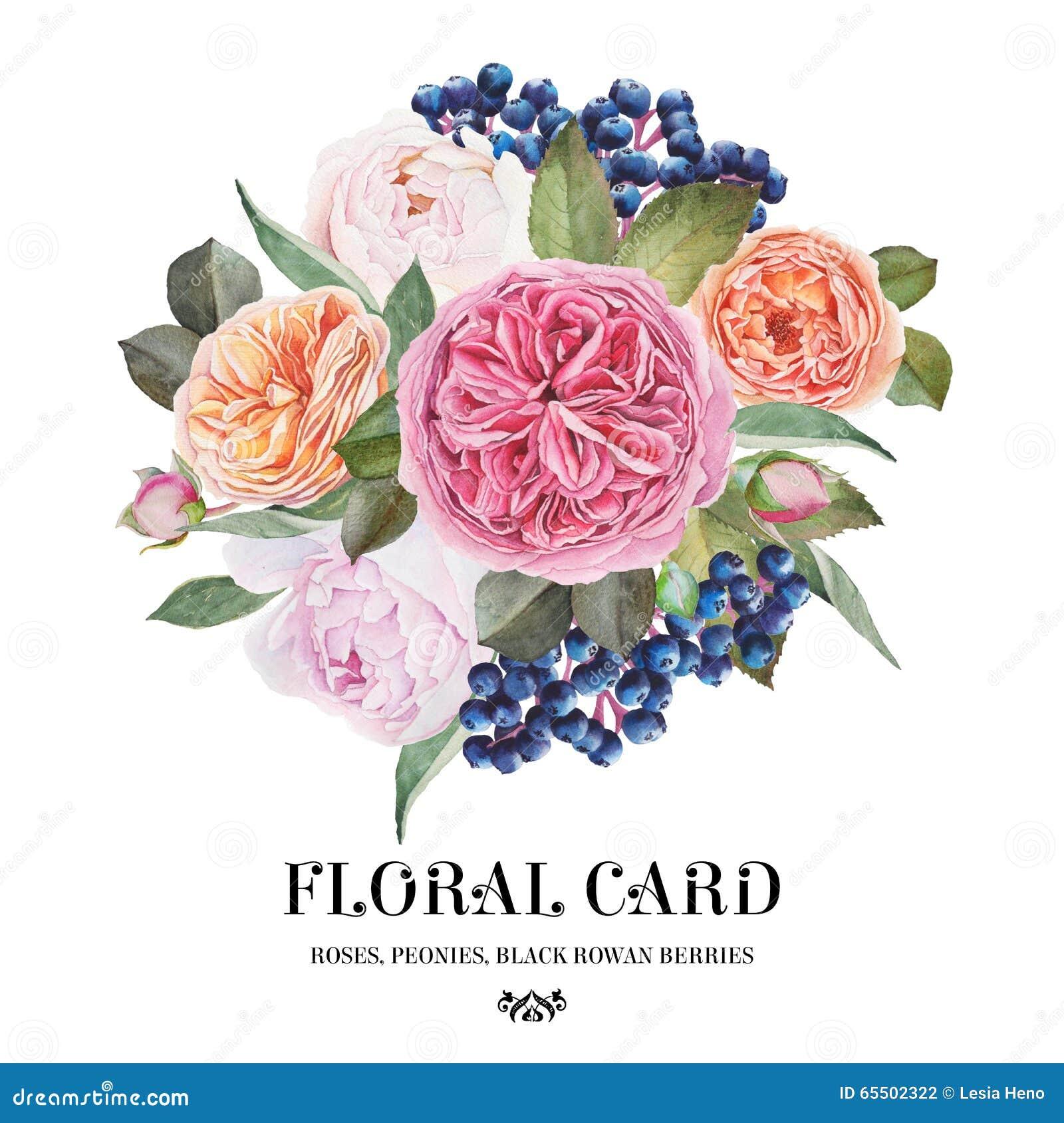 голубое приветствие конструкции карточки флористическое Букет роз акварели, пионов, черных ягод рябины