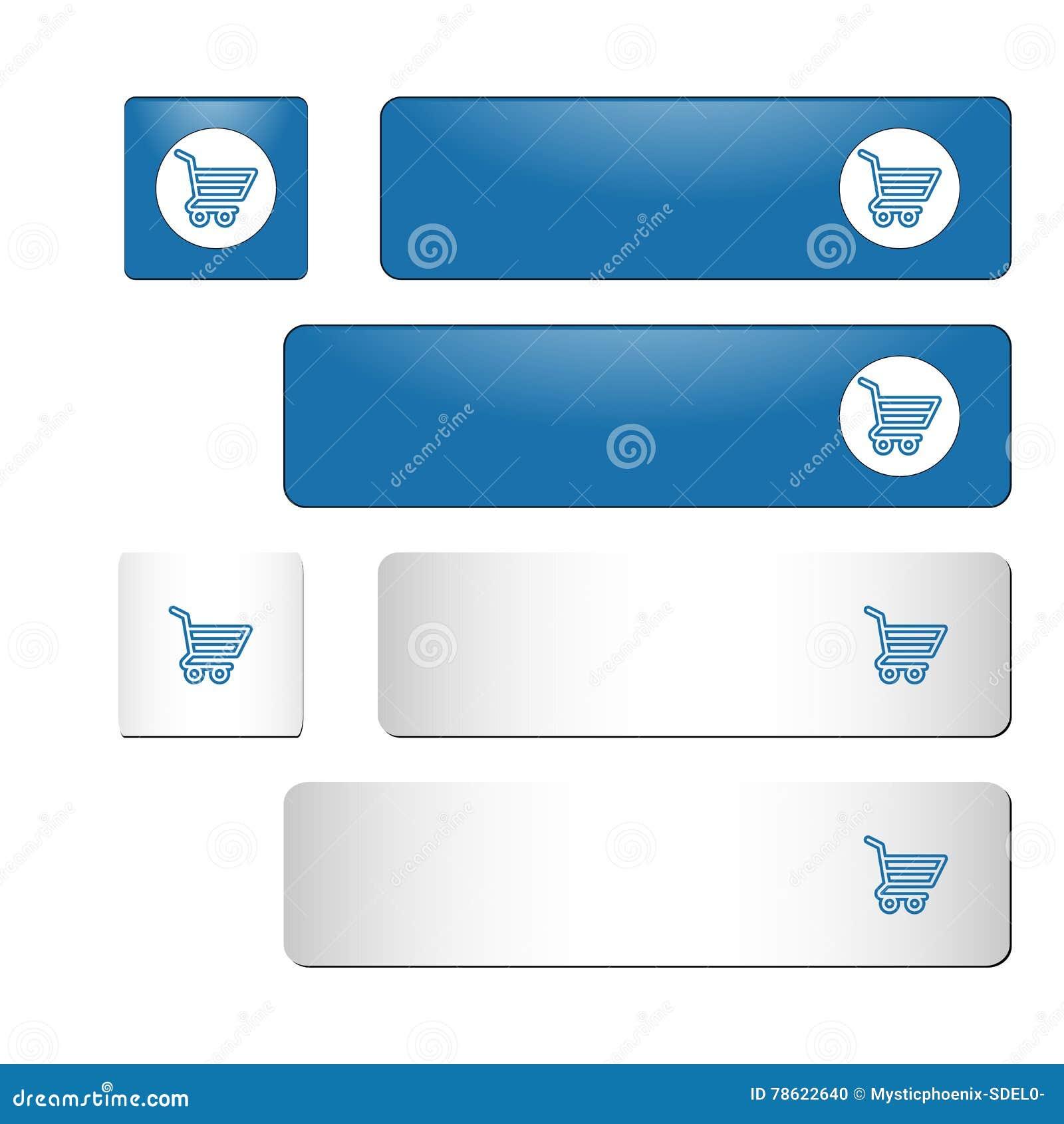 Голубой и белый квадрат и прямоугольные кнопки с магазинной тележкаой