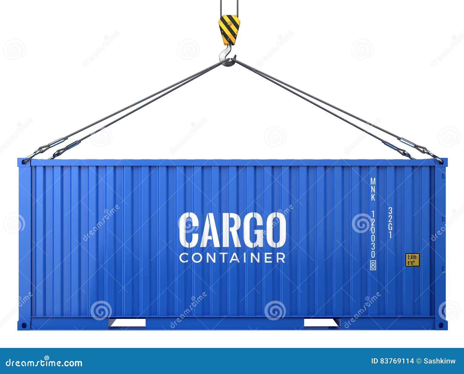 Голубой контейнер для перевозок перевозки груза изолированный на белой предпосылке