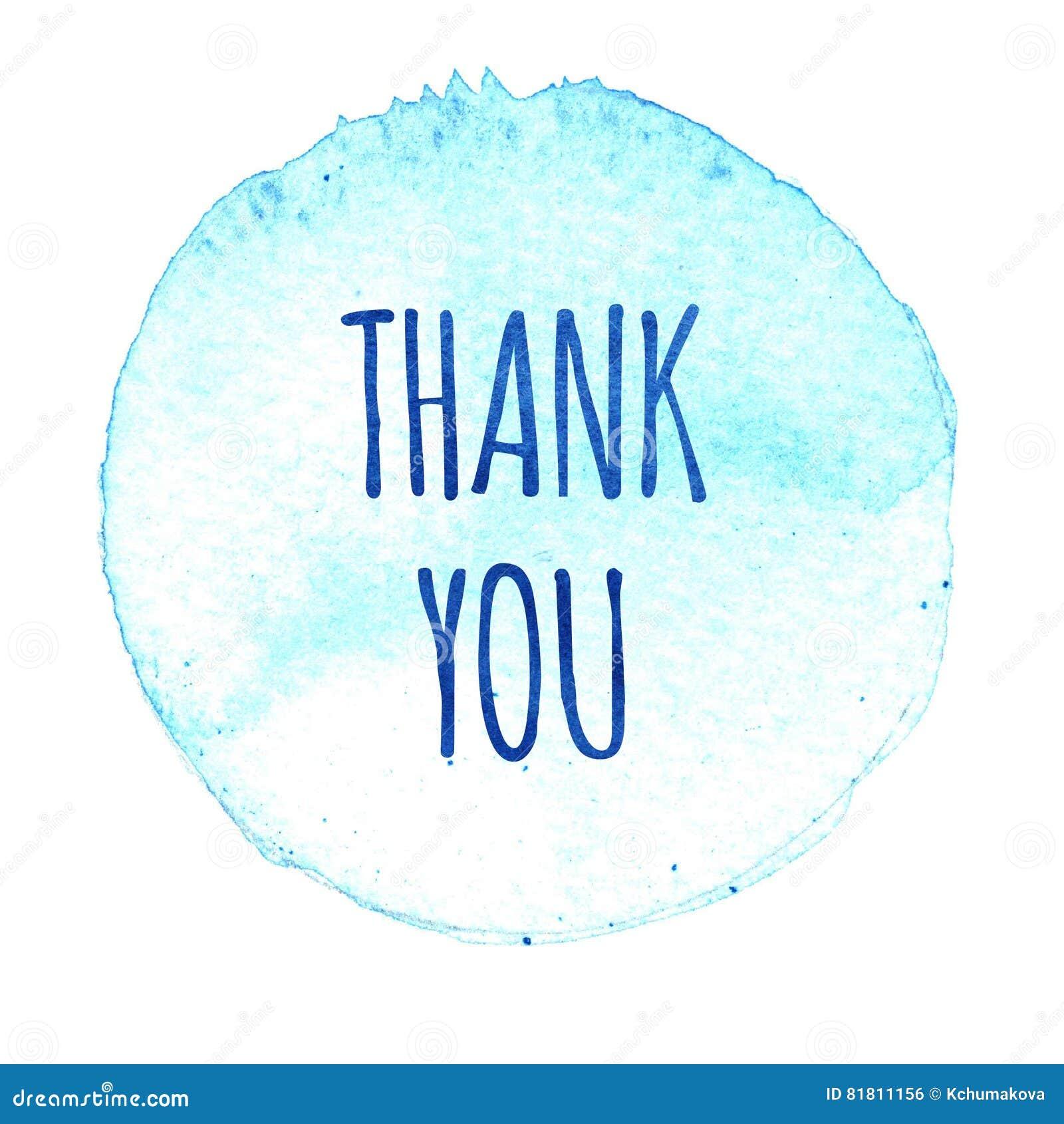 Голубой круг акварели с словами спасибо изолированный на белой предпосылке