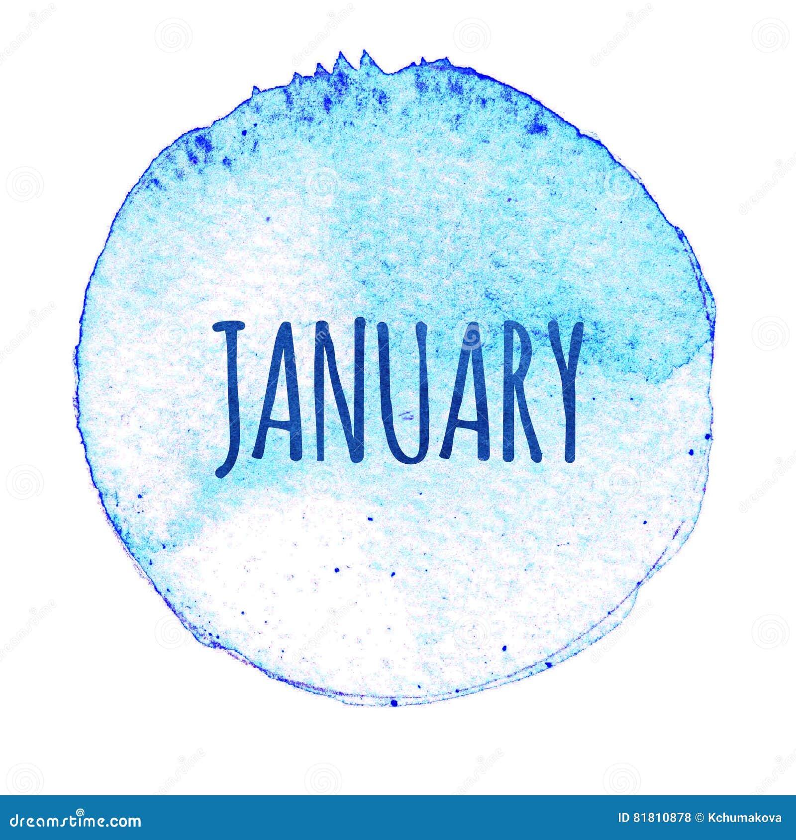 Голубой круг акварели с словом январем изолированный на белой предпосылке