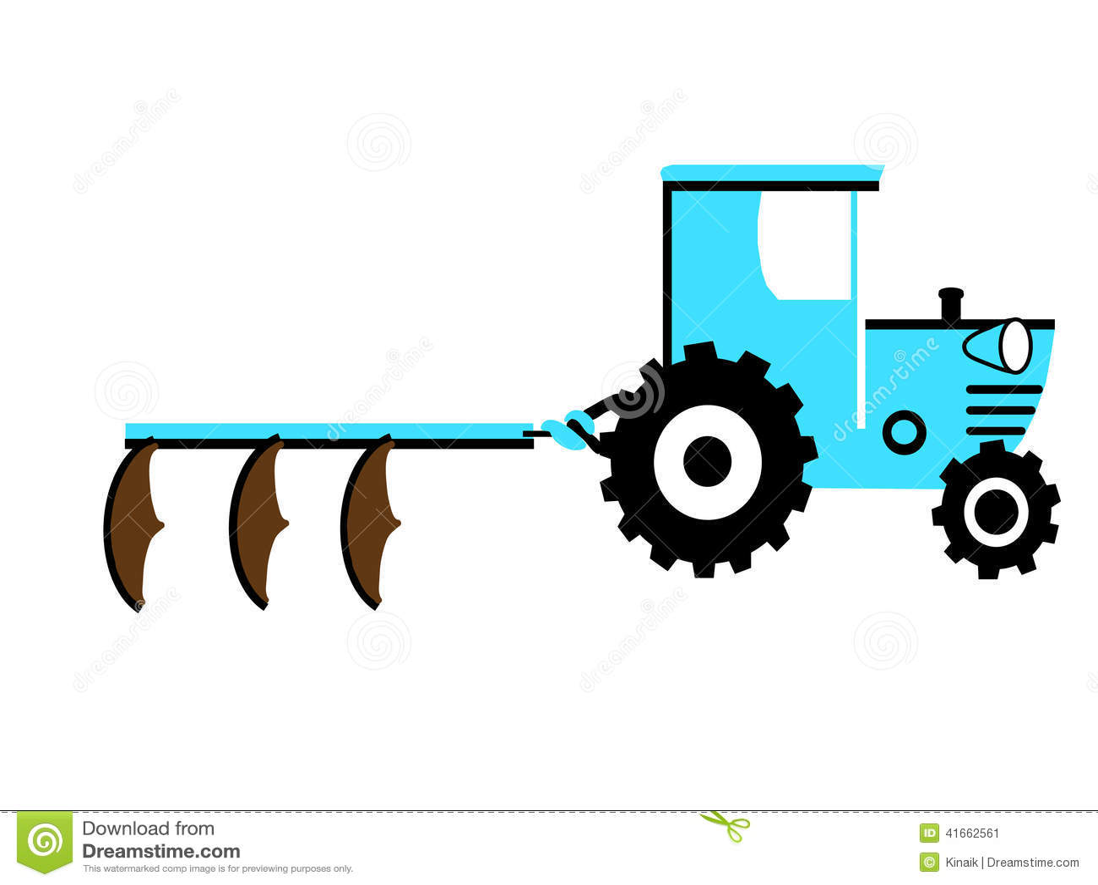 Голубой трактор с 3 плугами