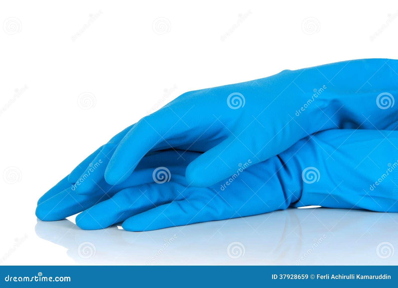 Голубые резиновые перчатки