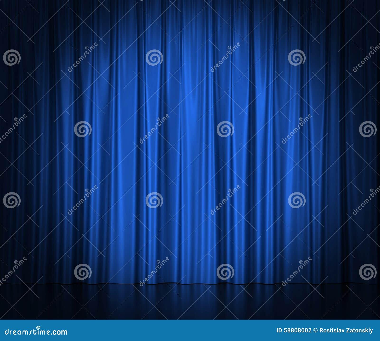 Голубые silk занавесы для spotlit театра и кино