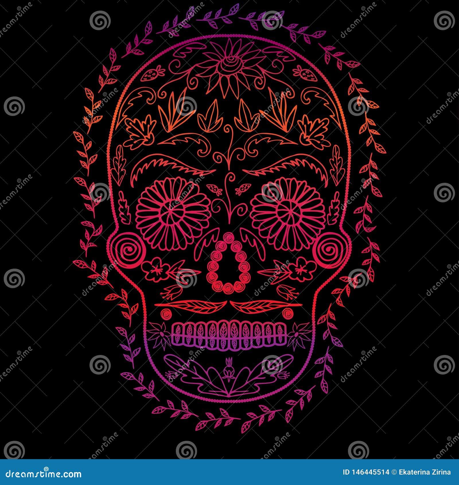 Градиент цвета черепа на черной предпосылке, символе дня мертвого изображения