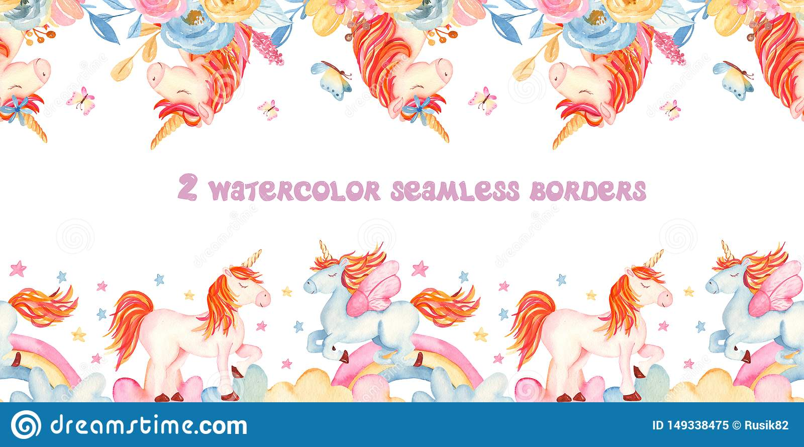 Граница акварели безшовная с единорогами, цветками, радугой, золотом